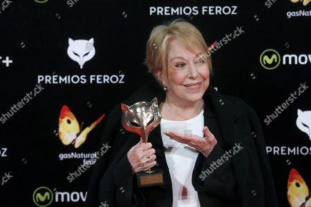 Spanish Actress Rosa Maria Sarda Poses with Her Honour Award During the 3rd Feroz Film Awards Ceremony Held at Gran Teatro Principe Pio in Madrid Spain 19 January 2016 Spain Madrid