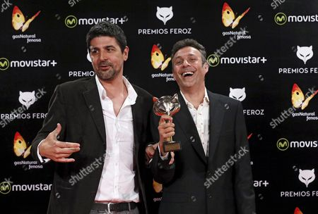Scriptwriters Cesc Gay (l) and Tomas Aragay (r) Pose with Best Script Award For the Film 'Truman' During the 3rd Feroz Film Awards Ceremony Held at Gran Teatro Principe Pio in Madrid Spain 19 January 2016 Spain Madrid