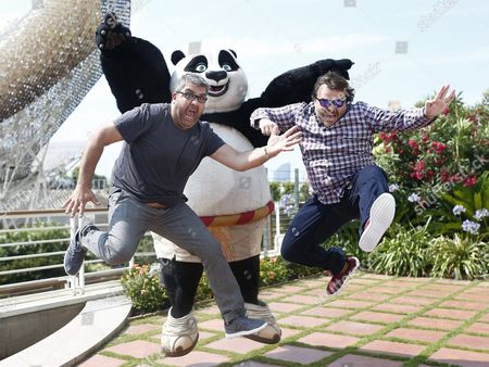 Spanish Showman Florentino Fernandez (l) and Us Actor Jack Black (r) Pose During the Presentation of 'Kung Fu Panda 3' in Barcelona Spain 23 June 2015 Black Performs the Voice of the Main Character of the Movie the Panda Spain Barcelona