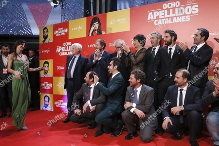 Spanish Film Director Emilio Martinez Lazaro (3l Up) and Producer Paolo Vasile (l) Pose with the Cast of Their New Movie 'Ocho Apellidos Catalanes' (eight Catalan Surnames Lit ) During the Film's Presentation in Madrid Spain 18 November 2015 the Movie is the Sequel of 'Ocho Apellidos Vascos' (eight Basque Surnames Lit ) That Became the Biggest Box-office Hit in Spanish Cinema History the Films Relate in a Humorous Tone the Differences Between Southern and Northern Spain in Culture Language and Customs Spain Madrid
