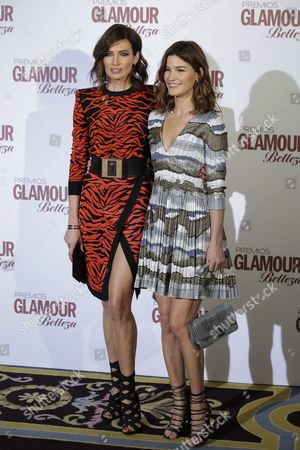 Spanish Model Nieves Alvarez (l) and Norwegian Photographer and Blogger Hanneli Mustaparta (r) who was Awarded with the 'Most Pretty Face of 2015' in the Woman Category Pose During the Photocall Organizated by Glamour Beauty Magacine in Madrid Spain 04 February 2016 Spain Madrid