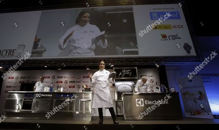 Stock Image of Spanish Chef Elena Arzak (c) Speaks During Her Lecture at the 14th Madrid Fusion International Gastronomic Fair in Madrid Spain 25 January 2016 Thailand is the Event's Guest Country in 2016 Spain Madrid
