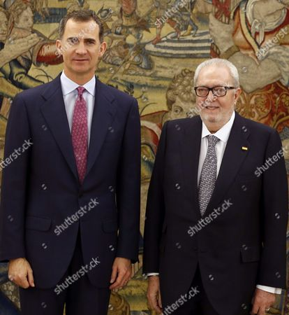 Spain's King Felipe Vi (l) Meets New President of the Parliamentary Assembly of the Council of Europe Pedro Agramunt Font De Mora During an Audience Held at La Zarzuela Palace in Madrid Spain 11 February 2016 Spain Madrid
