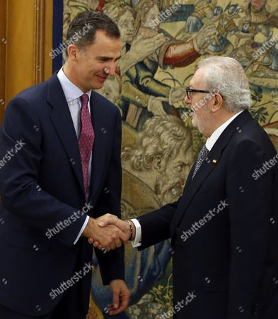Spain's King Felipe Vi (l) Shakes Hands with New President of the Parliamentary Assembly of the Council of Europe Pedro Agramunt Font De Mora During an Audience Held at La Zarzuela Palace in Madrid Spain 11 February 2016 Spain Madrid
