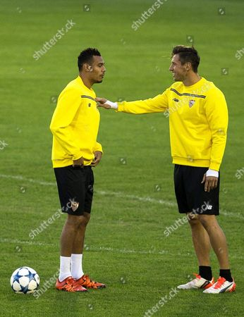 Sevilla's Polish Midfielder Grzegorz Krychowiak (r) and French Defender Benoit Tremoulinas (l) Attend Their Team's Training Session at Sanchez Pizjuan Stadium in Seville Spain 02 November 2015 Sevilla Fc Will Face Manchester City in the Uefa Champions League Gruop D Soccer Match on 03 November 2015 Spain Seville