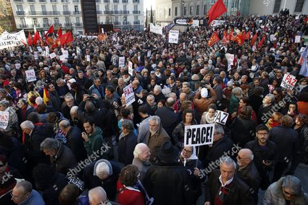 Hundreds Attend a Gathering in Front of the Reina Sofia Museum in Madrid Spain on 28 November 2015 Called by the People Signing the Manifesto 'Not in Our Name' to Protest Against Military Intervention in Syria Politics Actors and Other Personalities Such As Madrid's Mayoress Manuela Carmena Barcelona's Mayoress Ada Colau Spanish Actress Pilar Bardem and the President of the 11-m Victim Association Pilar Manjon Have Signed the Manifesto 'Not in Our Name' to Protest Against Terrorism Wars and Islamophobia According to This Manifesto the Response to Paris Attacks Cannot Be with 'More Violence and Hate' Spain Madrid
