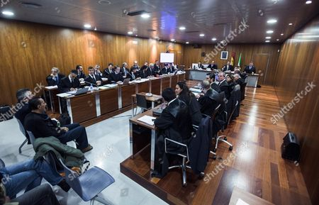 Marbella's Former Mayor Julian Munoz (2-l) and Former Marbella's Town Planning Adviser Juan Antonio Roca (l) Are Seen at the Court Room During the Trial on the Goldfinger Case at the Justice City in Malaga Southern Spain 11 January 2016 the So-called Goldfinger Case is Linked with the Town-planning Reassessment Over a Property Which was Owned Once by Scottish Actor Sean Connery in Marbella the Trial is Expected to End the Upcoming 17 February Spain Malaga