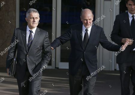 Miquel Roca (r) and Jesus Maria Silva the Lawyers of Spanish Princess Cristina Leave the Balearic Academy of Public Administration (ebap) During a Break of the Trial where She is Accused of Corruption in Palma De Mallorca Spain 11 January 2016 Princess Cristina is to Become the First Member of the Spanish Royal Family to Stand Trial After She was Charged with Tax Fraud Due to the Corruption Case in Which Her Husband Inaki Urdangarin is Involved He is Accused of Embezzling About Six Million Euros in Public Funds Through a Charity the Noos Institute Which He Ran From 2004 to 2006 Far-right Trade Union Manos Limpias Demands Eight Years of Prison For the Princess and 26 Years and Six Months For Urdangarin While the General Attorney Asks For a 19 Year Sentence For Him As the General Attorney Has not Presented Charges Against the Princess Only Manos Limpias Keeps Its Accusation the Princess' Lawyers Will Demand the Exoneration of Her Charges Spain Palma De Mallorca