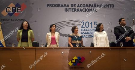 Members of the National Electoral Council (cne) Tania D'amelio Cardiet (l) Sandra Oblitas Ruzza (2-l) President of the Cne Tibisay Lucena Ramirez (c) Socorro Elizabeth Hernandez Hernandez (2-r) and Luis Emilio Rondon Gonzalez (r) Participate in the Installation of the International Electoral Accompaniment Program in Caracas Venezuela 02 December 2015 Zapatero is Part of an International Delegation Observing the 06 December 2015 Venezuelan Parliamentary Elections Venezuela Caracas