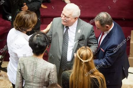 Polish Former President Lech Walesa (c) Greets Lilian Tintori (2-r) Wife of Imprisoned Opposition Leader Leopoldo Lopez Along with Other Family Members at the National Assembly of Venezuela in Caracas Venezuela 18 February 2016 Nobel Peace Prize Winners Lech Walesa Former Polish President Oscar Arias Former Costa Rican President and Mpho Tutu Daughter of South African Bishop Desmond Tutu Are Visiting Venezuela to Support Jailed Venezuelan Opposition Members Walesa was a Communist-era Informant According to New Information Released by the Institute of National Remembrance Personnel Records For Walesa and a Letter of Formal Obligation to Cooperate with Intelligence Services Were Reportedly Found in the House of Former Polish General Czeslaw Jan Kiszczak who Died in November Institute Director Lukasz Kaminski Told the Polish Press Agency on 18 February 2016 Confirming That Walesa's Signature was Authentic Venezuela Caracas