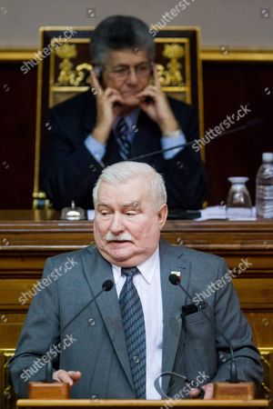 Former Polish President Lech Walesa Speaks at the National Assembly of Venezuela in Caracas Venezuela 18 February 2016 Nobel Peace Prize Winners Lech Walesa Former Polish President Oscar Arias Former Costa Rican President and Mpho Tutu Daughter of South African Bishop Desmond Tutu Are Visiting Venezuela to Support Jailed Venezuelan Opposition Members Walesa was a Communist-era Informant According to New Information Released by the Institute of National Remembrance Personnel Records For Walesa and a Letter of Formal Obligation to Cooperate with Intelligence Services Were Reportedly Found in the House of Former Polish General Czeslaw Jan Kiszczak who Died in November Institute Director Lukasz Kaminski Told the Polish Press Agency on 18 February 2016 Confirming That Walesa's Signature was Authentic Venezuela Caracas