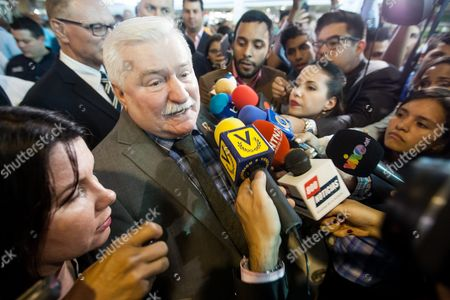 Former Polish President and 1983 Nobel Peace Prize Winner Lech Walesa (2-l) Speaks to the Press As He Arrives at the International Simon Bolivar Airport in Maiquetia Caracas Venezuela 17 February 2016 Nobel Peace Prize Winners Lech Walesa (poland) Oscar Arias (costa Rica) and Daughter of South African Bishop Desmond Tutu Mpho Tutu Arrives in the Latin American Country to Support Political Prisoners Venezuela Caracas