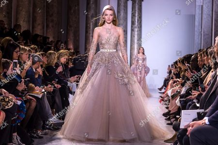 Stock Image of Dutch model Roos Abels presents creation of the Spring/Summer 2017 Haute Couture collection by Lebanese designer Elie Saab during the Paris Fashion Week, in Paris, France, 25 January 2017. The presentation of the Haute Couture collections runs from 22 to 26 January.