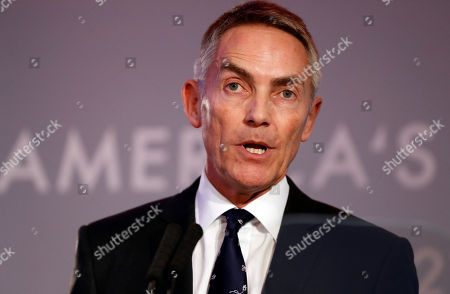 Stock Image of Martin Whitmarsh, CEO of the Landrover Bar America's Cup team, speaks during an America's Cup Press Conference in London