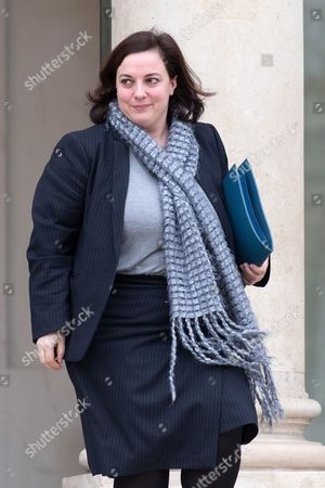 French Housing Minister Emmanuelle Cosse leaves the Elysee Presidential Palace