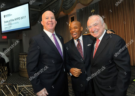 "James P. O'Neill, Eric Adams, William Bratton NYPD Commissioner James P. O'Neill, left, Brooklyn Borough President Eric Adams, center, and former NYPD Commissioner William J. Bratton attend the New York City Police Foundation's ""State of the NYPD"" breakfast, in New York. The New York City Police Foundation provides resources and support for NYPD public safety and counter-terrorism programs"