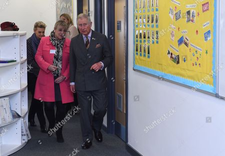 Prince Charles, President, The Prince's Trust and Patron, Teach First, with Dame Martina Milburn during a visit to the City of Leicester College, Evington, Leicester