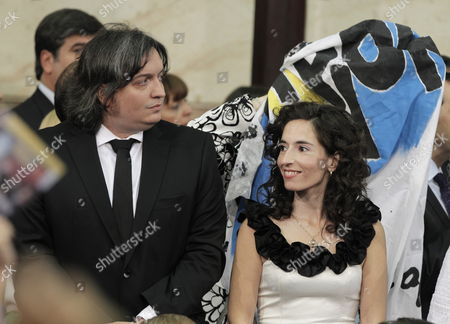 Argentinean President Cristina Fernandez Son Maximo Kirchner (l) and His Girlfriend Rocio Garcia (r) Attend Cristina Fernandez's Investiture at the National Congress in Buenos Aires Argentina on 10 December 2011 Reports State That Fernandez Broke All the Protocol Evoking Her Husband and Former President Late Nestor Kirchner in Her Oath and Receiving the Presidential Sash From Her Youngest Daughter Florencia Argentina Buenos Aires