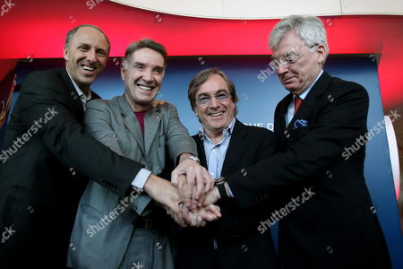 (l-r) Ceo of Imx Alan Adler Brazilian Tycoon Eike Batista President of Cirque Du Soleil Daniel Lamarre and President and Ceo of Img Mike Dolan Pose For a Photograph During a Press Conference in Rio De Janeiro Brazil 25 September 2012 to Announce a Partnership Between Batista's Company Imx and Cirque Du Soleil to Promote This Show in the South American Countries the Agreement Between the Brazilian Company and Canadian Circus Includes the Creation of a New Company Called Imx Arts Based in Rio De Janeiro to Exploit the Shows and Spread Social Initiatives in the Region Brazil Rio De Janeiro