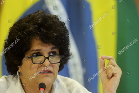 Brazil's Minister of Environment Izabella Teixeira Speaks at a Press Conference in Brasilia where She and Her Colleagues of Agriculture Jorge Mendes Ribeiro and Agrarian Development Gilberto Jose Vargas Reported That the Brazilian President Rousseff Vetoed Twelve of the 84 Articles of the Forestry Code Bill the Controversial Law Rejected by Ecologists Brazil Brasilia