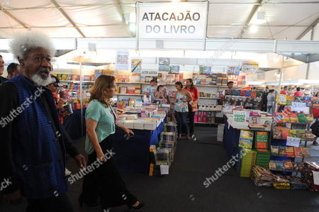 Nigerian Literature Nobel Winner Wole Soyinka Visits the First Edition of Literature Biennal in Brasilia Brazil on 14 April 2012 Brazil Brasilia