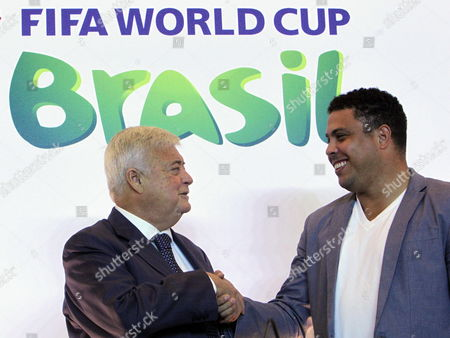 President of the Brazilian Football Confederation Ricardo Teixeira (l) Greets Former Brazilian Player Ronaldo Luis Nazario De Lima (r) After a Press Conference where It was Announced That Ronaldo Will Be Part of the Head Committe For 2014 Fifa World Cup in Brazil Rio De Janeiro Brazil 01 December 2011 Brazil Rio De Janeiro