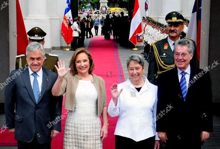 (l-r) Chilean President Sebastian Pinera Chilean First Lady Cecilia Morel Austrian First Lady Margit Fischer and Austrian President Heinz Fischer Pose For Photographs in Santiago Chile 06 December 2012 According to Reports on 06 December 2012 the Two Heads of State Signed Agreements on Fiscal and Cultural Matters During an Official Visit Chile Santiago De Chile