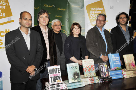 (L to R) Authors Aravind Adiga, Sebastian Barry, Amitav Ghost, Linda Grant, Philip Hensher, Steve Toldz