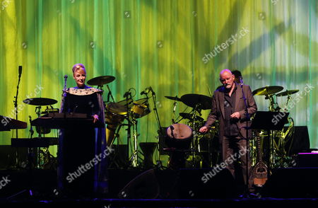 Stock Image of Brendan Perry (r) and Lisa Gerrard (l) From the Australian/british Band Dead Can Dance Perform on Stage During Their Concert in Santiago De Chile Chile 13 July 2013 Dead Can Dance Closes Its World Tour in the Chilean Capital Chile Santiago De Chile