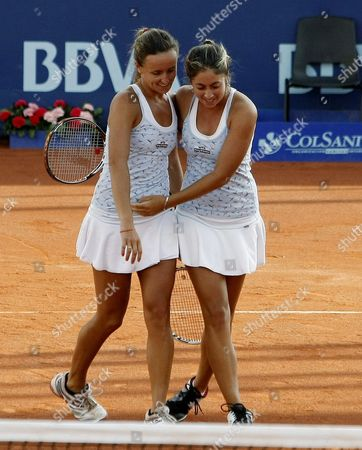 Argentinean Tennis Players Maria Irigoyen (l) and Mailen Auroux (r) Celebrate Their Victory Over Fellow Country Woman Gisela Dulko and Paola Suarez During a Match of the Bbva Colsanitas Tennis Cup in Bogota Colombia 15 February 2012 Colombia Bogota