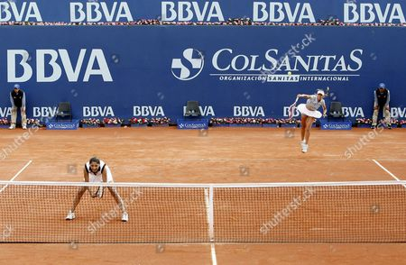 Argentinean Tennis Players Gisela Dulko (r) and Paola Suarez (l) Serve Agaisnt Fellow Country Woman Maria Irigoyen and Mailen Auroux During a Match of the Bbva Colsanitas Tennis Cup in Bogota Colombia 15 February 2012 Colombia Bogota