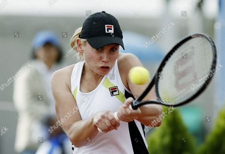 Australian Tennis Player Jelena Dokic Returns the Ball to Argentinian Paula Ormaechea During a Match of the Bbva Colsanitas Tennis Cup in Bogota Colombia 14 February 2012 Colombia Bogota