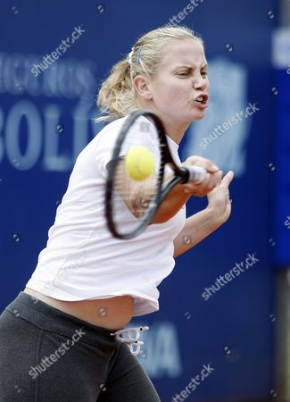 Stock Picture of Australian Tennis Player Jelena Dokic Trains in Bogota Colombia in Order to Take Part in the Tennis Colsanitas Cup Bogota Colombia 08 February 2012 Colombia Bogota
