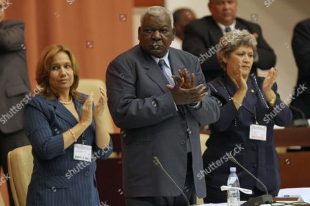 New President of Cuban National Assembly Esteban Lazo (c) New Vice President Ana Maria Machado (l) and Secretary Mariam Brito Attend the National Assembly of People's Power in Havana Cuba 24 February 2013 During the Assembly Cuban President Raul Castro was Reelected Cuba Havana