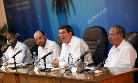Foreign Ministers of Cuba Bruno Rodriguez (2-r) of Chile Alfredo Moreno (2-l) of Haiti Pierre-richard Casimir (l) and of Costa Rica Enrique Castillo (r)hold a Joint News Conference in Havana Cuba 05 April 2013 Foreign Ministers of the Troika of the Community of Latin American and Caribbean States Began a Working Meeting Remembering to Venezuelan Late President Hugo Chavez and His Support to the Regional Institution Cuba Havana
