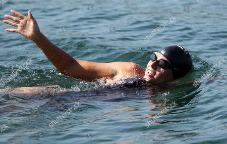 Australian 29 Year Old Swimmer Chloe Mccardel in Action After Setting Off From the International Nautical Club 'Ernest Hemingway' West of Havana Cuba 12 June 2013 Without the Protection of a Shark Cage to Cross the Florida Strait Key West United States if Chloe Mccardel Completes This Voyage She Would Establish a New World Record in the Category of Long Distance Without Assistance Nor Stops Cuba Havana