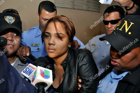Dominican Singer Martha Heredia is Carried to the Justice Palace in Santiago Dominican Republic 22 February 2013 Heredia Winner of Reality Show Latin American Idol in 2009 was Detained on 21 February 2013 After Allegedly Trying to Smuggle 1 2 Kilos of Heroine to the United States the Artist Could Face 20 Years on Prison Dominican Republic Santiago