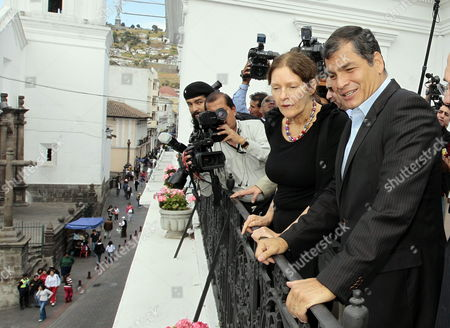 Stock Photo of Ecuadorean President Rafael Correa (r) and Christine Assange (2r) Mother of Founder of Wikileaks Julian Assange Wave From the Balcony of Government Palace in Quito Ecuador 01 August 2012 Both Talked About the Asylum Request by Julian Assange to Ecuador Ecuador Quito