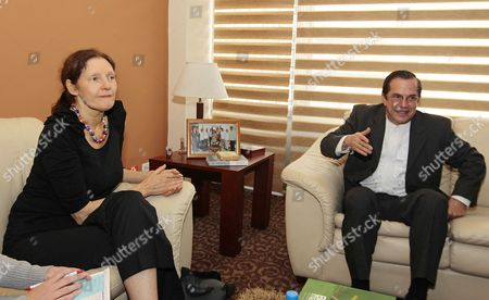 Ecuadorian Foreign Minister Ricardo Patino (r) Meets with Christine Assange (l) Mother of Wikileaks' Founder Julian Assange During Their Meeting in Quito Ecuador 30 July 2012 Christine Assange Met Patino to Talk About the Request For Asylum Made by His Son to Ecuador Ecuador Quito