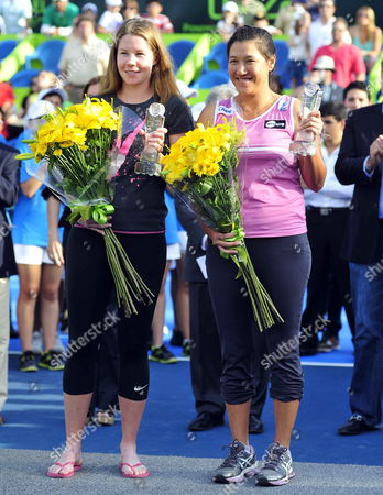 Czech Eva Birnerova (l) and Thai Tamarine Tanasugarn (r) Pose After Their Second Place Finish in the Doubles Final of the Monterrey Open in Monterrey Mexico 07 April 2013 Mexico Monterrey