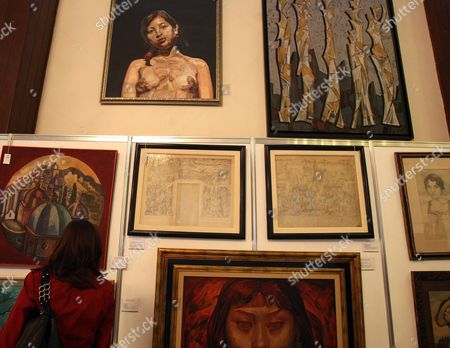 A Woman Attends the 'Latin American Art Auction' by Auction House Morton in Mexico City Mexico 17 May 2012 a Total of 205 Works by Latin American Artists As Diego Rivera Rufino Tamayo Pedro Coronel and Leonora Carrington Were on Offer Mexico Mexico City