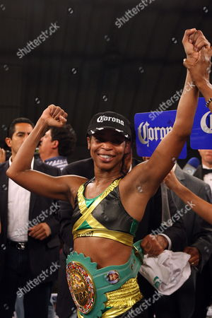 Stock Photo of Jamaican Boxer Alicia Ashley Celebrates After Defeating Mexican Maria Elena Villalobos For the World's Title Junior Featherweight From the World Boxing Council in Mexico City 17 March 2012 Mexico Mexico City
