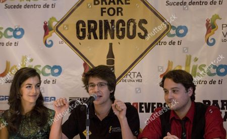 Us Actors From Left to Right Camilla Belle Devon Werkheiser and Sean Marquette Participate in a Press Conference in Mexico City on 10 May 2012 where Filmmakers Announced the Beginning of Shooting of the Movie 'I Brake For Gringos' Which Will Start Next 14 May in the Mexican Resort of Puerto Vallarta Mexico Mexico Ciudad De México