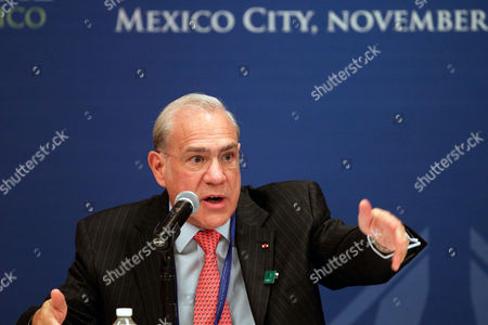 Stock Photo of The Secretary General of the Organisation For Economic Co-operation and Development (oecd) Jose Angel Gurria Trevino Speaks at a Press Conference During the Start of the G20 Finance Ministers Meeting in Mexico City Mexico 04 November 2012 Mexico Mexico City