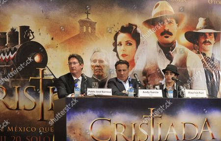 Cuban-american Actor Andy Garcia (c) Mexican Actor Mauricio Kuri (r) and Producer Pablo Jose Barroso (l) Participate in a News Conference to Promotion the Film 'Cristiada' in Mexico City Mexico 17 April 2012 Mexico Mexico City
