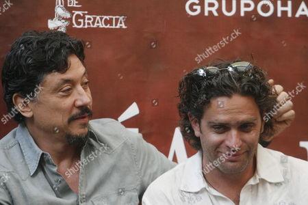 Spanish Actor Carlos Bardem (l) and Mexican Director Everardo Gout (r) Attend a Press Conference of Everardo Gout's Film 'Dias De Gracia' in Mexico City Mexico 10 April 2012 Mexico Mexico City