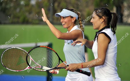 Argentinean Players Gisela Dulko (l) and Paola Suarez (r) Celebrate a Point Against Russian Player Alexandra Panova and Czech Eva Birnerova During the Game of Monterrey Tennis Open in Monterrey Mexico 22 February 2012 Mexico Monterrey