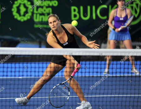 Russian Player Alexandra Panova (front) and Czech Eva Birnerova (back) Return a Ball to Argentineans Gisela Dulko and Paola Suarez During the Game of Monterrey Tennis Open in Monterrey Mexico 22 February 2012 Mexico Monterrey