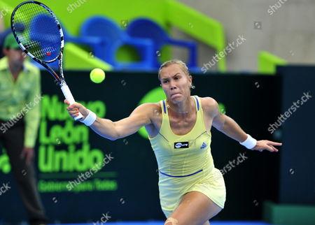 Russian Nina Bratchikova Returns a Ball to Her Compatriot Anastasia Pavlyuchenkova During a Tennis Match at the Monterrey Wome's Tennis Open in Monterrey Mexico 02 April 2013 Mexico Monterrey