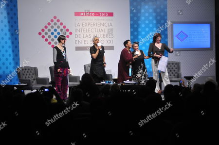 (l-r) Singers Andrea Echeverri From Colombia; Eugenia Leon From Mexico; Susana Baca From Peru; Omara Portuondo From Cuba and Cecilia Rosseto From Argentina Participate at the 'Intellectual Experience of the Women in the Xxi Century' Congress at the Palacio De Bellas Artes in Mexico City Mexico 06 March 2012 Event Has More Than 40 Women Taking Part at the Cultura and Art Fields in Latin America Sharing Their Intellectual Experiences Mexico Mexico City